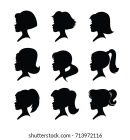 Nine girl heads. Different hairstyles. Black silhouettes isolated on a white background. Vector.