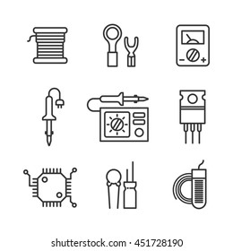 Nine icons for micro-circuitry. Radio engineering vector icon set for radio parts store. Soldering Iron, soldering station, multimeter and radio-components