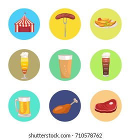 Nine images of octoberfest vector illustration including red marketing tent, sausage on folk, beer glasses and food represented by meat and snacks