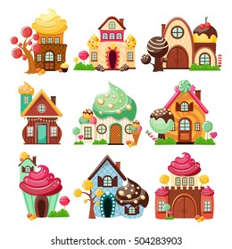 Nine isolated decorative icons set with colorful houses made of sweets and candy on blank background vector illustration