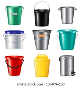 Nine isolated realistic buckets icon set plastic and metallic for different needs vector illustration