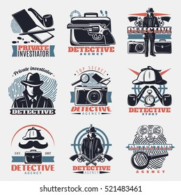 Nine isolated vintage detective labels in color with lens wristbands spy gear and fingerprint investigation symbols vector illustration