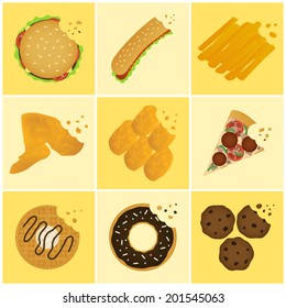 nine junk food bite off icon set