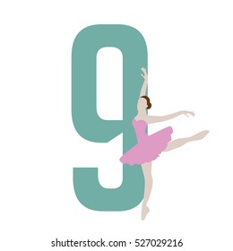 Nine ladies dancing Christmas illustration. EPS 10 vector.