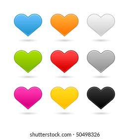 Nine matted color heart web buttons on white