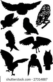 nine owls silhouettes isolated on white background