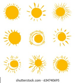 Nine painted solar symbols. Vector set of sun icons.