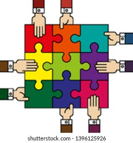 Nine people hands putting puzzle 9 pieces. Teamwork business concept. Idea working together banner. Colaborative people design, vector puzzle illustration. Hand business man connecting puzzle elements