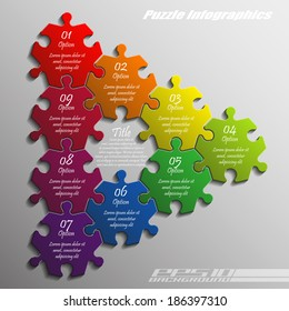 Nine piece flat puzzle infographic presentation. 9 step circle business diagram. Nine section compare service banner. Vector illustration template shape . 3d Abstract Background