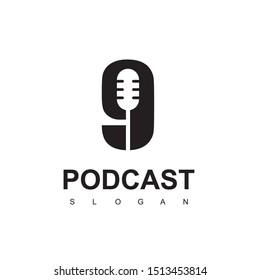 Nine Podcast Logo Design Template