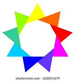 Nine pointed star, colorful triangles around a nonagon, logo design element