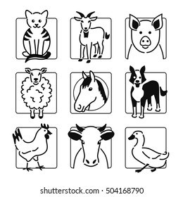 Nine popular farm or pet animals icons in black outline