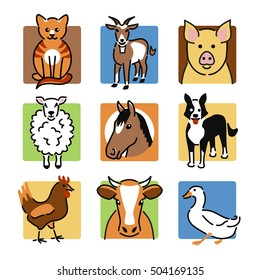 Nine popular farm or pet animals as colour icons