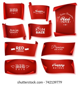 Nine red paper banner icon set with happy holiday premium quality big sale and for festive decoration description vector illustration