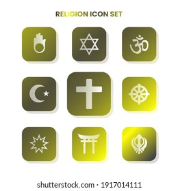 Nine RELIGION icons in one set with white color on gradient and white background. Vector illustration