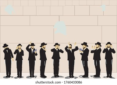 """Nine religious ultra - Orthodox Jewish men pray. Some read from """"prayer arrangement"""". Flat vector drawing. In nice shades  Against the backdrop of the Western  Wall in Jerusalem"""