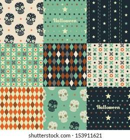 Nine seamless pattern. Halloween Collection.