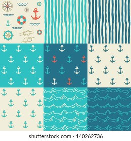 Nine seamless patterns of marine symbols. Use to create quilting patches or seamless backgrounds for various craft projects.