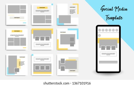 Nine set editable square abstract geometric banner template for social media post.  Minimal design background vector illustration with Golden yellow, blue and white background.
