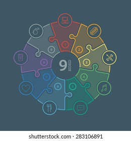 Nine sided, numbered flat rainbow spectrum colored puzzle presentation infographic chart with explanatory text field isolated on dark background. Vector graphic template.