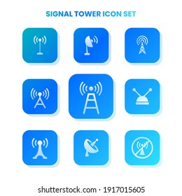 Nine SIGNAL TOWER icons in one set with white color on gradient and white background. Vector illustration