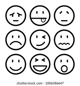 Nine smilies, set smiley emotion, by smilies, cartoon emoticons - stock vector