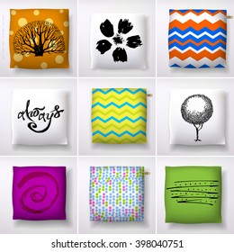 Nine square cushions collection. Pillow cover design. Hand drawn print design.