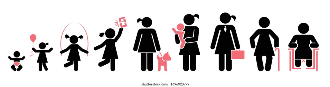 Nine stages of a woman's life. Icon set of lifespan, infancy, toddler, childhood, early school age, adolescence, early adulthood, middle age, older age.