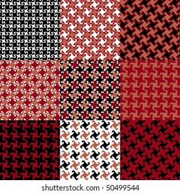 Nine swirly houndstooth patterns in black, red and peach. Tiles are grouped on separate layers.