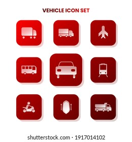 Nine Transportation icons in one set with white color on gradient and white background. Vector illustration