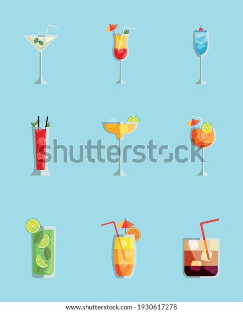 nine tropical cocktails cups drinks