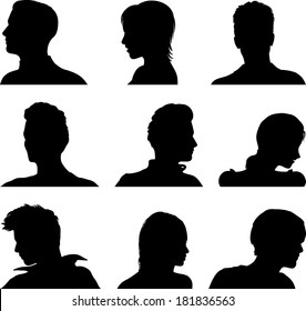 Nine vector anonymous avatar set
