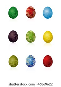 Nine vector colored Easter eggs with pattern