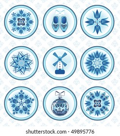 Nine vector icons in dutch style with seamless pattern background. All objects are in separate layers.