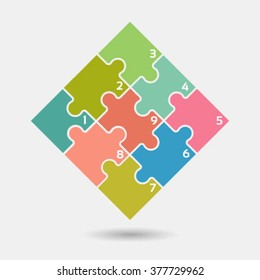 Nine vector jigsaw puzzle pieces for multiple uses