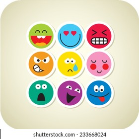Nine vector smile color face icons
