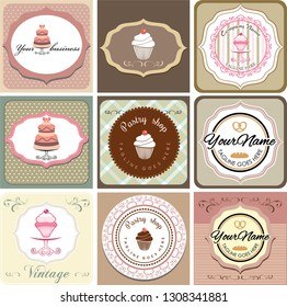 nine vintage cards set with bakery and pastry shop theme