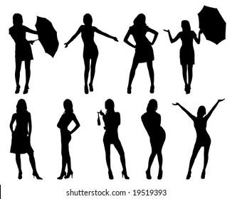 Nine woman silhouettes. On white.