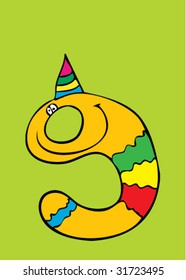 nine year birthday greeting card