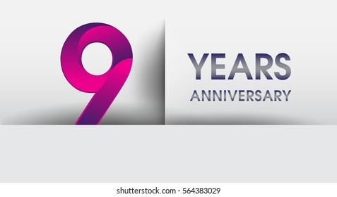 nine years Anniversary celebration logo, flat design isolated on white background, vector elements for banner, invitation card for 9th birthday party
