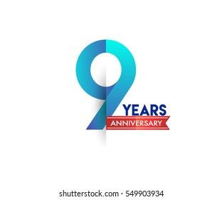 nine years anniversary celebration logotype blue colored with red ribbon. 9th birthday logo on white background