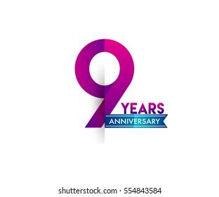 nine years anniversary celebration logotype colorfull design with blue ribbon, 9th birthday logo on white background
