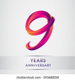 nine years anniversary celebration logotype colorfull design, 9th birthday logo on white background