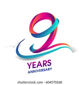 nine years anniversary celebration logotype blue and red colored. 9th birthday logo on white background.