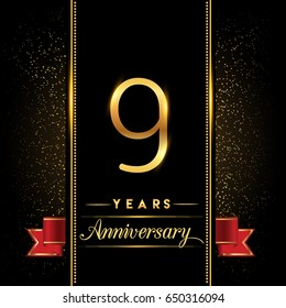 nine years anniversary celebration logotype. 9th anniversary logo with confetti golden colored and red ribbon isolated on black background, vector design for greeting card and invitation card