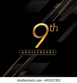 nine years anniversary celebration logotype. 9th anniversary logo golden colored isolated on black background, vector design for greeting card and invitation card.