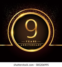 nine years birthday celebration logotype. 9th anniversary logo with confetti and golden ring isolated on black background, vector design for greeting card and invitation card.
