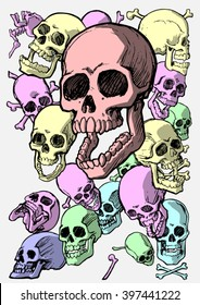 Nineteen skulls in various sizes and views, layered, shadowed and colored.