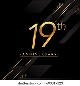 nineteen years anniversary celebration logotype. 19th anniversary logo golden colored isolated on black background, vector design for greeting card and invitation card.