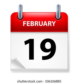 Nineteenth February in Calendar icon on white background